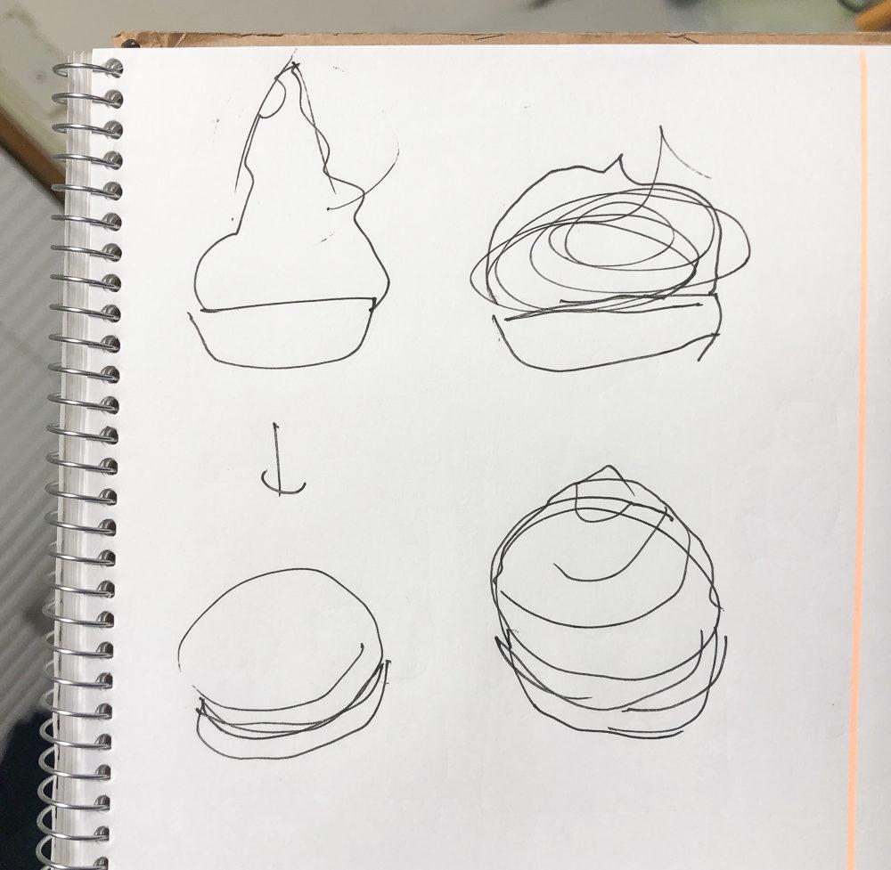 ソフトクリームの盛りを修正するスケッチ
